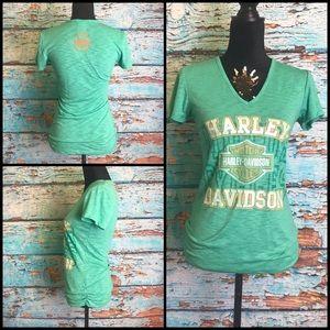Harley-Davidson Green Ruched V-Neck Tee